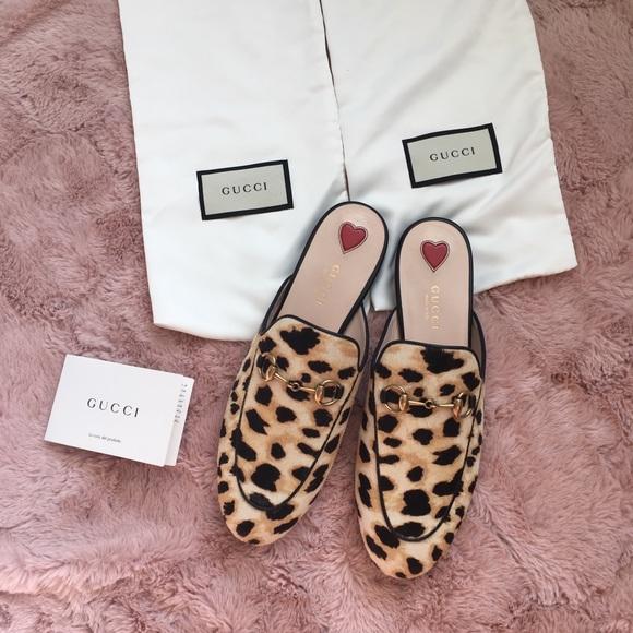 3d4c49745254 Gucci Shoes | Princetown Leopard Calf Slipper 37 New | Poshmark